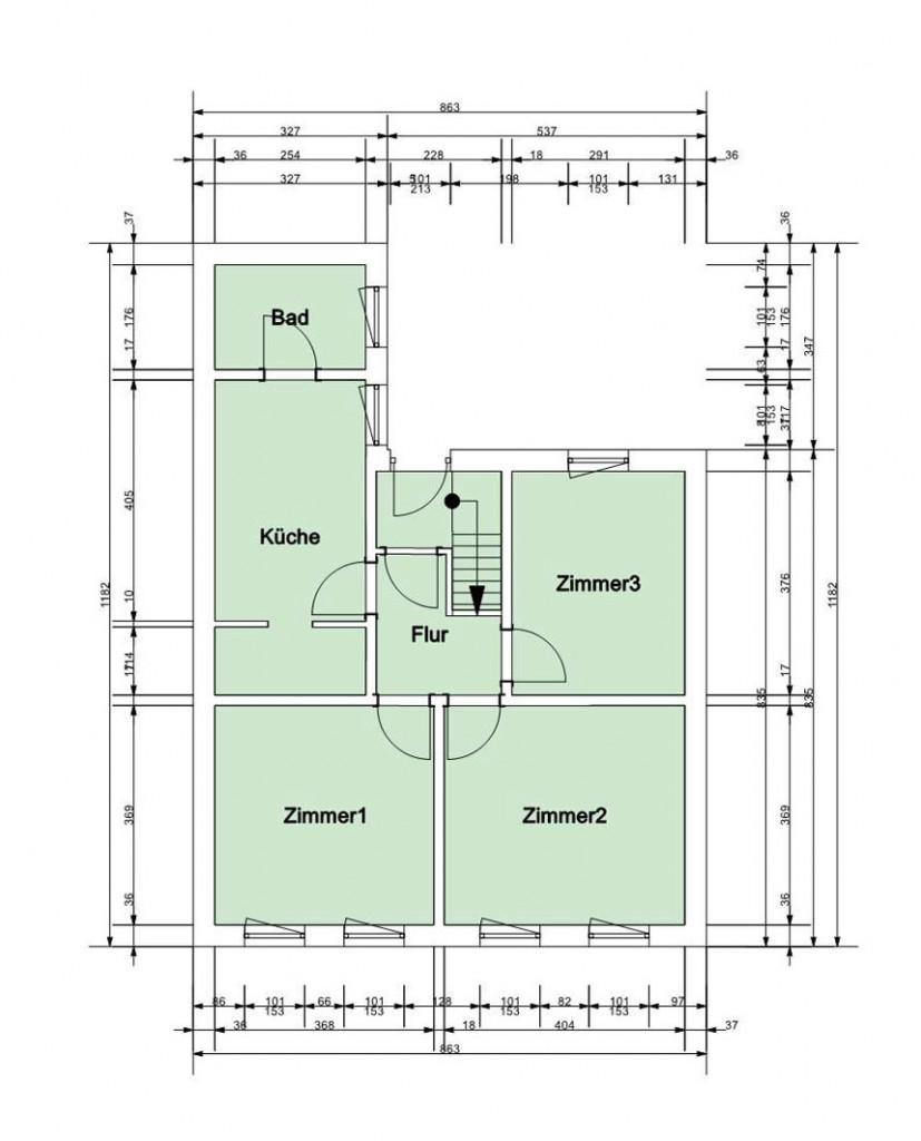 Beispiel Grundriss-Service Aufriss-Service Aufmaß-Service Haus Wohnung verkaufen