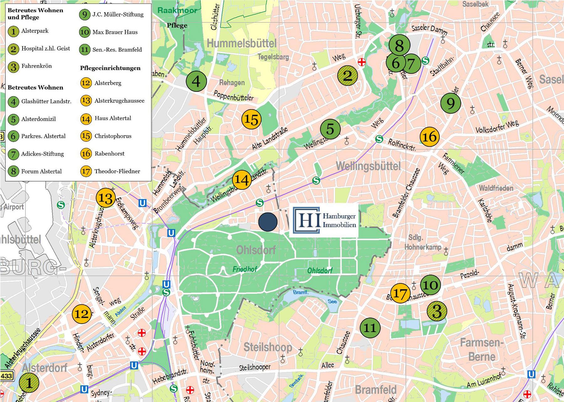 Karte Anbieter Pflege und betreutes Wohnen in Hamburg Wellingsbüttel, Poppenbüttel, Alsterdorf, Fuhlsbüttel, Ohlsdorf und Klein-Borstel